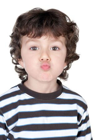 exaggerate: Funny child with striped shirt isolated on white background Stock Photo