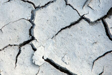 Cracks in the land of a river in drought due to climate change photo