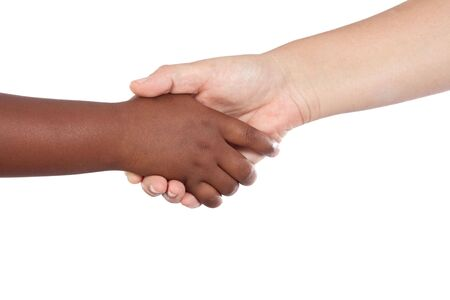 african american handshake: Handshake between an African-American and Caucasian isolated on white background Stock Photo