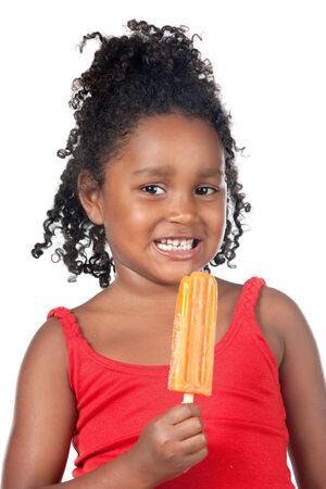 hungry children: African American child girl eating ice cream