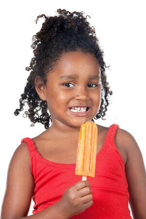 meisje eten: African American kind meisje eten van ijs
