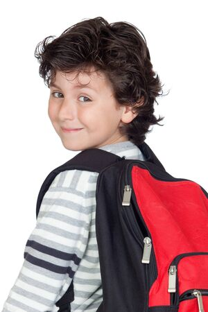Beautiful student child with heavy backpack isolated on white background photo
