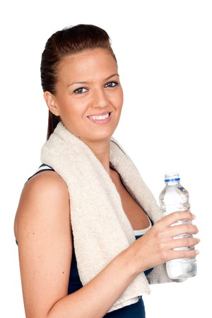 healthy llifestyle: Gymnastics girl with a towel isolated on white background