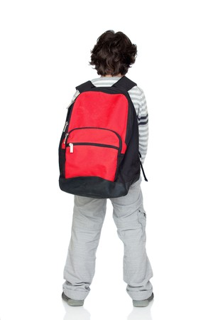 back packs: Anonymous child back with a heavy pack isolated on white background