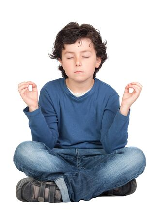 hyperactivity: Relaxed child practicing yoga on a white background Stock Photo