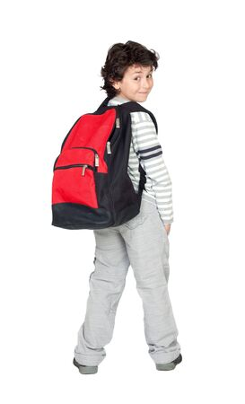 child care: Beautiful student child with heavy backpack isolated on white background