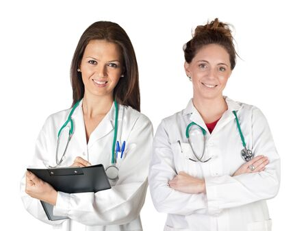 Two doctor women over a white background Stock Photo - 6981715