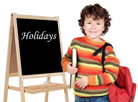 Adorable child student whit slate isolated on a over white background photo