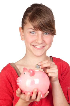 Funny girl with pink piggy-bank isolated on white background photo