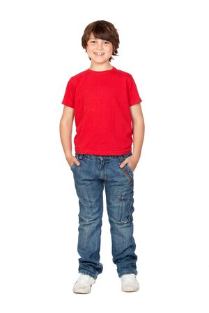 Funny child with red shirt isolated on white background