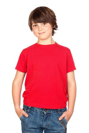Funny child with red shirt isolated on white background photo