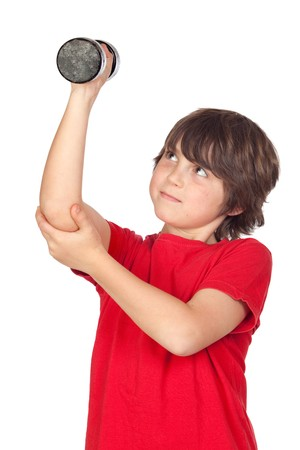 strong growth: Funny child playing sports with weights isolated on white background