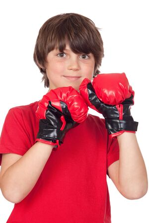 Freckled boy with boxing gloves isolated on white background  photo