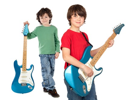 whit: Two children whit electric guitar a over white background