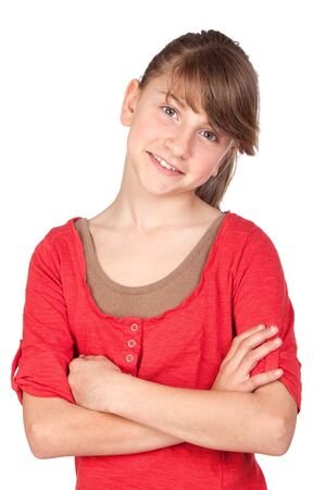 Adorable preteen girl isolated on white background Stock Photo - 7050535