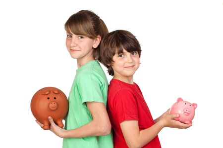 moneybox: Two brothers with money-box isolated on white background Stock Photo