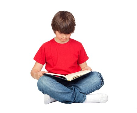cute boys: Student child with a book isolated over white background