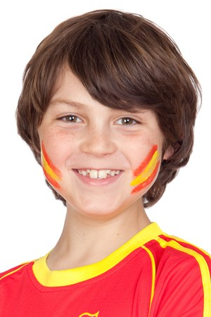 Smiling child fan of the Spanish team isolated on white background photo