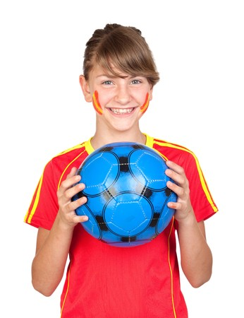Smiling girl fan of the Spanish team isolated on white background photo
