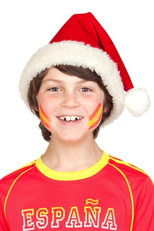 Smiling child fan of the Spanish team in Christmas isolated on white background Stock Photo - 7135266