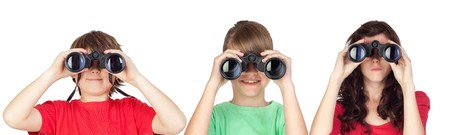 Three brothers looking for binoculars isolated on white background Stock Photo - 7161251