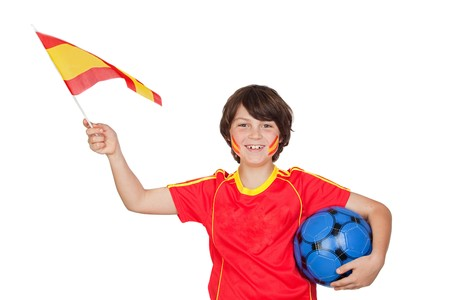 the national team: Smiling child fan of the Spanish team isolated on white background