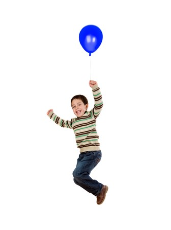 Child flying with blue balloon inflated isolated on white background photo