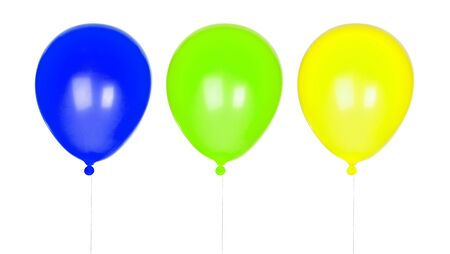 inflated: Three colorful balloons inflated isolated on white background