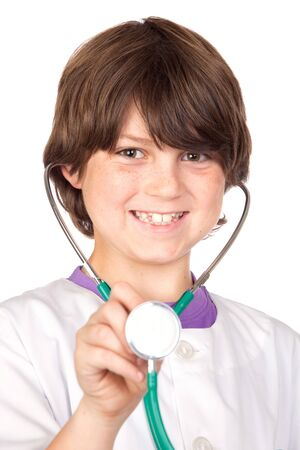 Adorable boy with clothes of doctor isolated on white photo