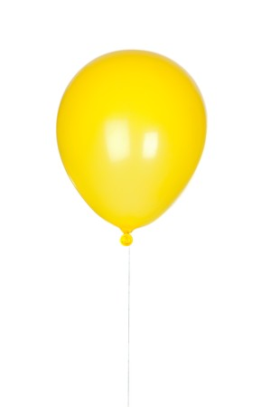 baloon: Yellow balloon inflated isolated on white background Stock Photo