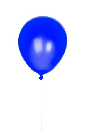 inflated: Yellow balloon inflated isolated on white background Stock Photo