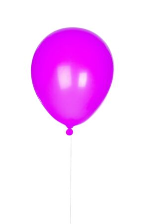 inflated: Purple balloon inflated isolated on white background