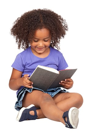 Student little girl reading with a book isolated over white photo