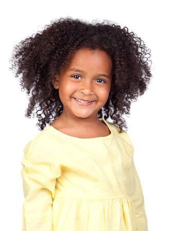 pretty little girl: Adorable african little girl with beautiful hairstyle isolated over white