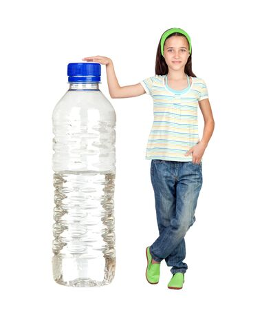 bottled: Funny child with a big water bottle isolated on white background