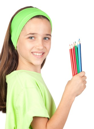 Adorable little girl with many colored pencils isolated on white background photo