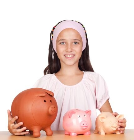 demotion: Little girl with with three piggy-bank isolated on white background