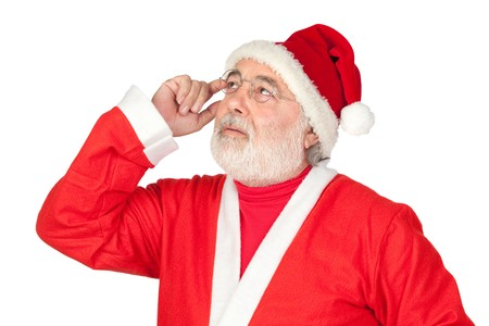thoughful: Thoughful Santa Claus isolated on white background