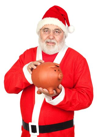 Smiley Santa Claus with piggy-bank isolated on white background photo