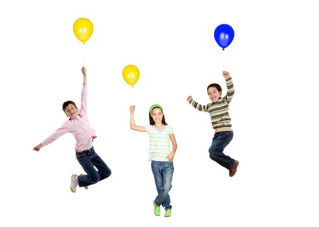 Three children flying with balloon inflated isolated on white background photo