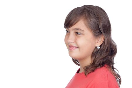 beautiful bangs: Adorable preteen girl isolated on white background