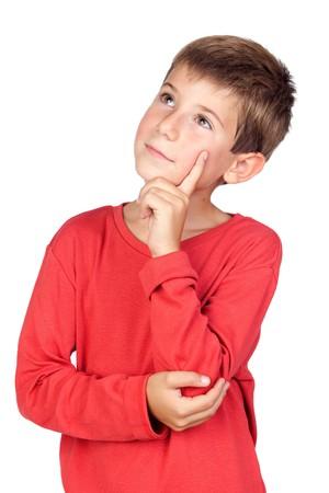 Niño pensativo con cabello rubio aislado sobre fondo blanco  Foto de archivo - 7891179