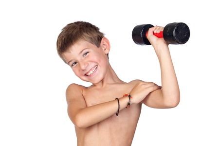 Thin boy showing his muscles isolated on white background photo