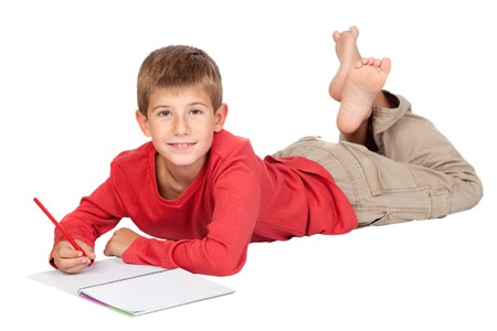 lying down on floor: Adorable child with blond hair lying isolated on white background