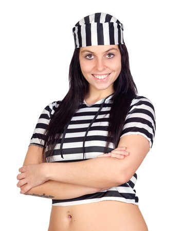 Sexy prisoner smiling isolated on a over white background photo