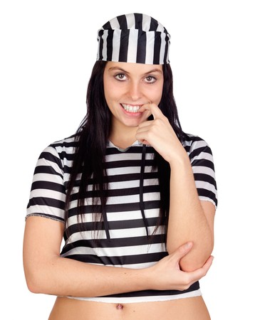 Sexy prisoner smiling isolated on a over white background Stock Photo - 8021250
