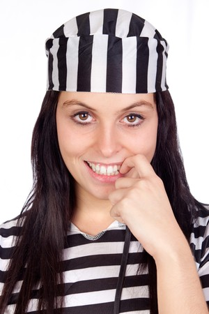 Sexy prisoner isolated on a over white background Stock Photo - 8021260