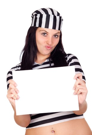 Sexy prisoner with blank paper isolated on a over white background Stock Photo - 8021216