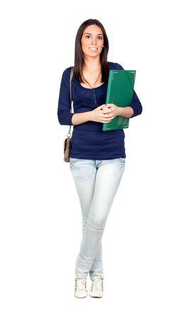 Beautiful university girl isolated on a over white background photo