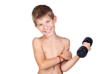 boy muscles: Thin boy showing his muscles isolated on white background